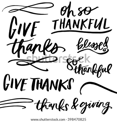 Modern Calligraphy Thankful Quotes Lettering Stock Vector Royalty