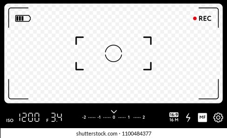 Modern camera focusing screen with exposure, zoom zone and options. Realistic template of smart phone camera viewfinder grid with many shooting settings on transparent background vector illustration.