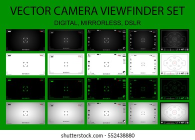 Modern camera focusing screen with settings 20 in 1 pack - digital, mirorless, DSLR. White, black and green viewfinders camera recording. Vector illustration
