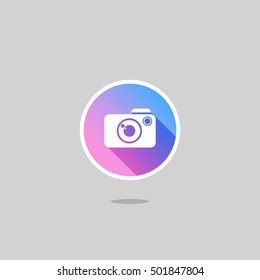Modern Camera Logo or Icon with Long Shadow. Gradation. Isolated.