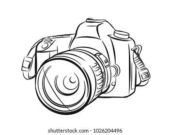 Modern camera in outline style. Vector hand drawn