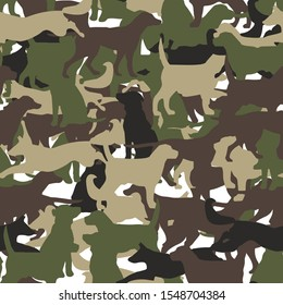 Modern camouflage dog style seamless pattern