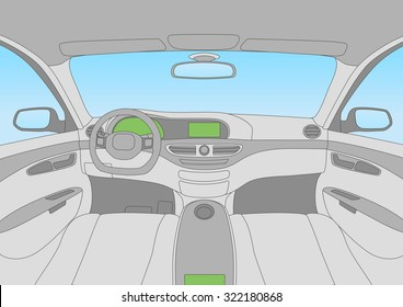 modern car cockpit, vector illustration