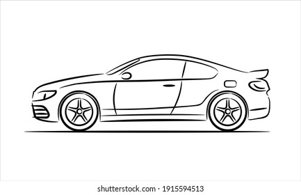 Modern car coupe, abstract silhouette on white background. Vehicle icons view from side. Vector illustration