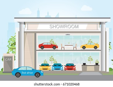 Modern car dealership showroom interior and exterior, Includes cars on the display and test drive car, flat design vector illustration.
