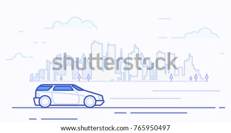 e37231ca55 ... Vector (Royalty Free) 765950497 - Shutterstock. Modern car driving on  highway near big city with skyscrapers silhouette. Family car. Big