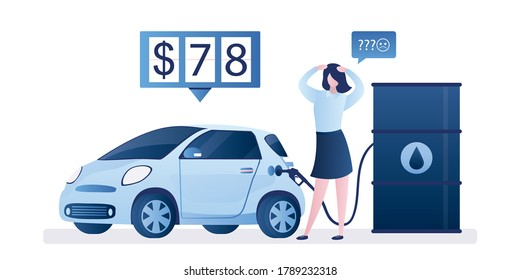 Modern car is fueled with gasoline from an oil barrel. Unhappy woman driver. Expensive fuel price on the meter, rising prices concept. Increased costs. Auto design in trendy style. Vector illustration