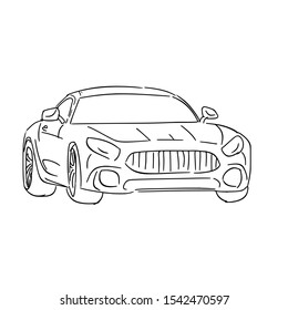 modern car hand drawn outline vector illustration