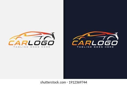 Modern Car Logo Design. Modern Colorful Silhouette Car Usable For Automotive, Business, and Services Company. Vector Logo Illustration.