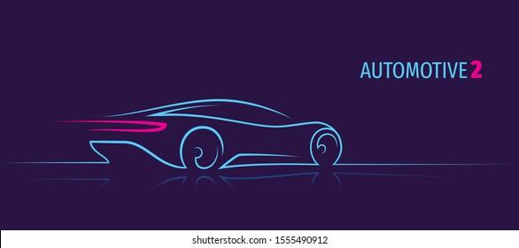 Modern car minimalistic line illustration. Car outline. Dark background. Text outlined.