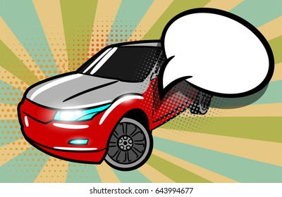 Modern car pop art style. Cartoon comic book background. Sport utility vehicle on sunbeam poster banner in bright color. Luxury roadster with text speech bubble advertise sale balloon.
