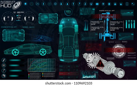 Modern Car Scanning ( Troubleshooting ) in HUD Style. Auto Service Infographic Car UI, Analysis and Diagnostics. Search For Errors and Troubleshooting. 3D Vector Illustration Auto Service, Repair HUD