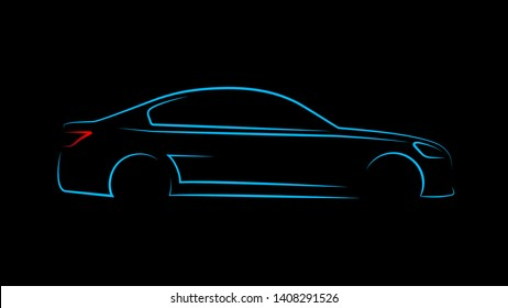 Modern car silhouette in side view. Blue neon car silhouette for logo, banner or marketing advertising design. Vector illustration.