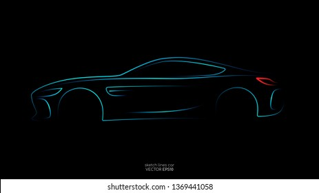 Modern car sketch line silhouette blue and green light isolated on black background in side view. Vector illustration in concept technology electric car, self drive car