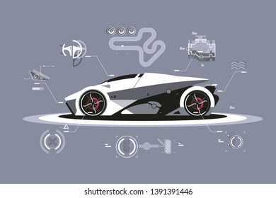 Modern car technology vector illustration. Sport automobile with latest and best specifications flat style concept. Footnotes on details and parts of vehicle