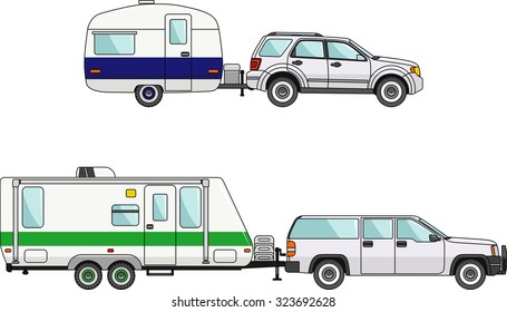 Modern caravan. Detailed illustration of car and travel trailers in flat style
