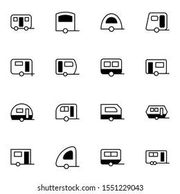 modern caravan, motorhome, campervan icon set. creative trailer solid line icons sign, vector illustration.