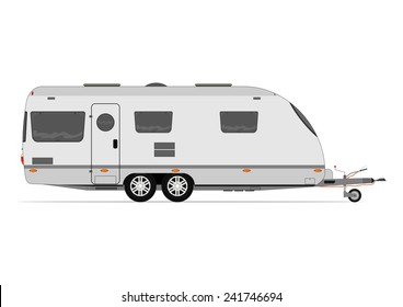 Modern caravan. Vector without gradients on one layer.