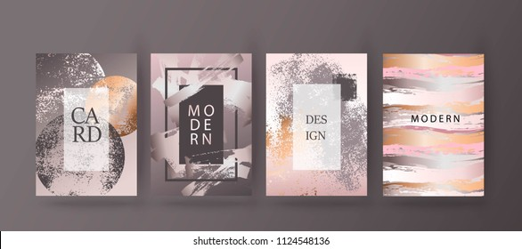 Modern card design. Hand drawn background. Gold, pink brochure, flyer, invitation template. Business identity style. Wedding pattern. Vector.