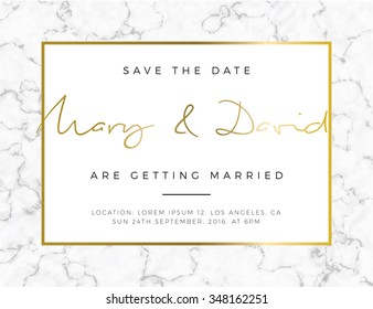 Modern card, for invitation or announcement with golden and marble detail
