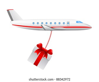 modern cargo air plane with christmas present