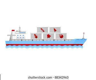 modern cargo ship with containers holding christmas objects