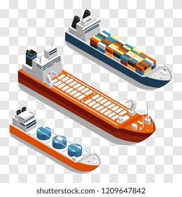 Modern cargo ships isometric vector design. Set of transportation ships isolated on transparent background