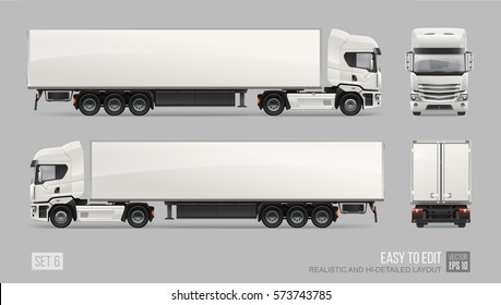 Modern Cargo Truck Trailer easy to edit vector template isolated on grey background. Realistic Car Eurotrucks delivering vehicle layout for corporate brand identity design