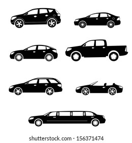 Modern cars silhouettes collection