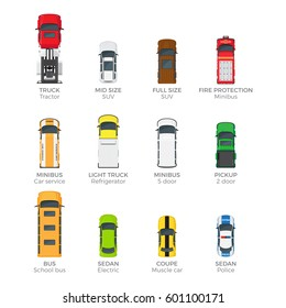 Modern cars top view icons set. Various passenger, emergency and cargo vehicles isolated flat vectors. Personal, public and commercial auto illustration for urban transport concepts and infographics