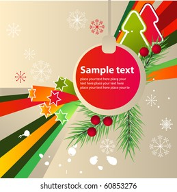 Modern cartoon christmas background with fir and abstract elements