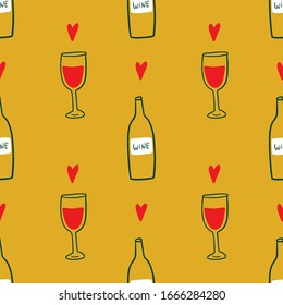 Modern cartoon colorful flat stylized Italian wine bottles and glasses icons symbols seamless pattern, cute illustration. Doodle concept, food and drinks of Italy. Vector EPS clip art design