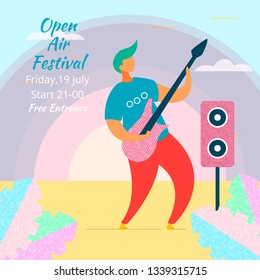 Modern cartoon flat character musical band guitarist on music fest,concert,open air festival,hand drawn style concept.Musician with guitar and loudspeakers playing rock,music,jazz,blues,rockabilly