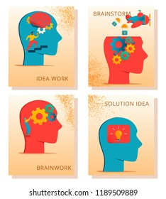 Modern cartoon flat characters brain neurology concept cards.Brain works, ideas work, brainstorm, solution idea represented by Flat style little people interacting w human head gears. light bulb thoughts.