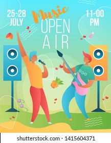 Modern cartoon flat characters musical band guitarist,singer-holiday open air,music fest,poster banner flyer summer design.Musicians with guitar,microphone playing music,jazz,rock,blues,rockabilly