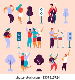 Modern cartoon flat characters set for jazz,rock music fest concept-singer,musicians,guitar,sax,drums,double bass,hand drawn style.Happy people dancing,rejoice,making selfie on musical festival party