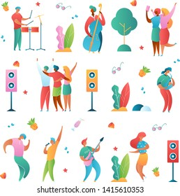 Modern cartoon flat characters set-holiday music fest,party,open air flyer banner poster elements,summer design concept.Singer,musicians,guitar,sax,drums,double bass,happy people dancing,making selfie