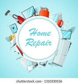 Modern cartoon flat home repair service concept-damaged consumer electronics appliances around ready to use copy space.Small business banner flyer concept-different broken household goods