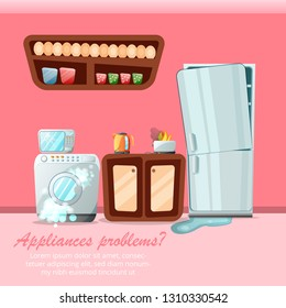 Modern cartoon flat home repair service concept-damaged consumer electronics appliances.Small business banner flyer concept-Broken household goods with copy space ready to use,vector illustration