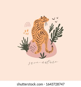 Modern cartoon flat tiger print. Pop art style concept. Protect wild animals poster. Vector Illustration. Pastel colors clipart image
