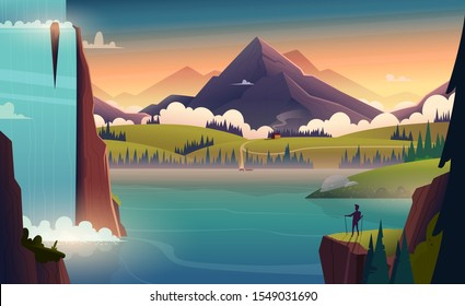 Modern cartoon landscape illustration of river in the mountains with a waterfall and a person in front