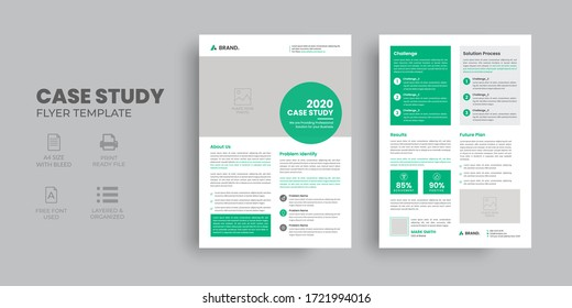 Modern Case Study Template, Flyer Template, Double Side Flyer, Brochure Cover, Poster design with Case Study Booklet