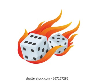 Modern Casino Logo - Flaming Dice Showing 65 Casino