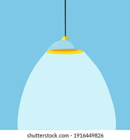 Modern ceiling lamp in cartoon style. A chandelier hanging on a cable with the light on. An element of a modern interior. Vector illustration.