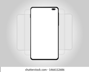 Modern cellphone with blank app screens mockup. Wireframing screens template to create and showcase your mobile ui kit. Vector illustration