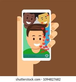Modern cellphone in woman hand with friends image flat vector illustration. Mates are writing message with mobile applications. Concept of social media internet communication