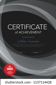 Modern certificate of achievement template with place for your content and lines background - dark version