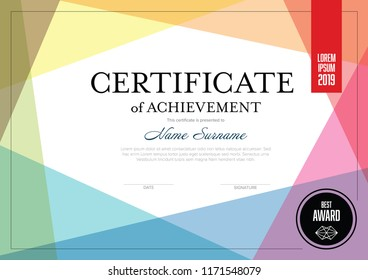 Modern certificate of achievement template with place for your content - colorful design