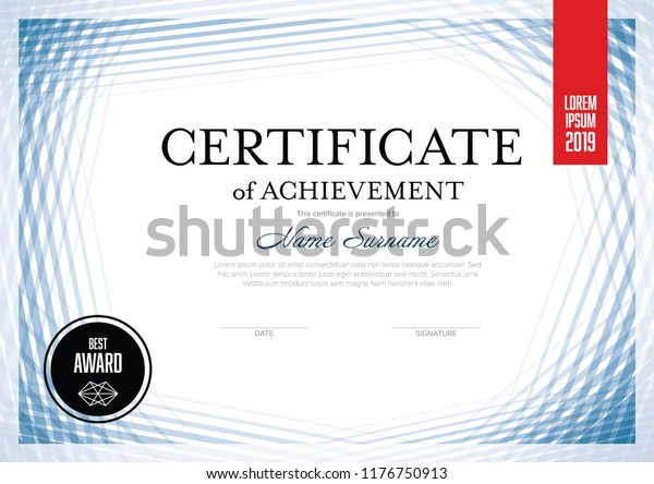Modern Certificate Achievement Template Place Your Stock