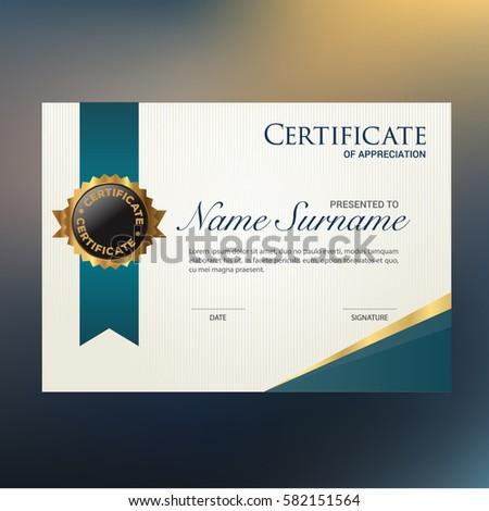 Modern Certificate Appreciation Award Template Green Stock Vector